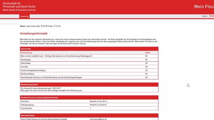 anleitung online bewerbung am campus lichtenberg - Rechtspfleger Bewerbung