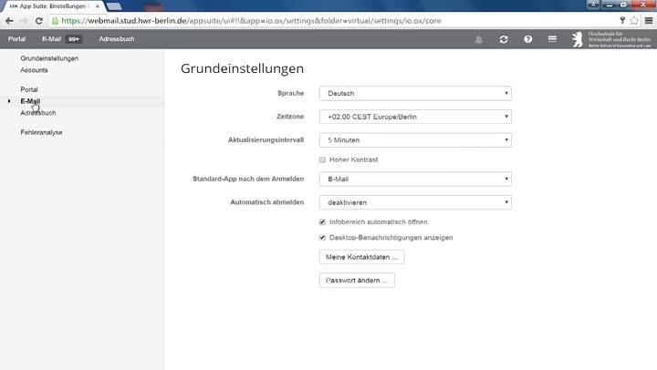 Webmail OpenXchange - Videoanleitung für Studierende der HWR Berlin (studentisches E-Mail Postfach)