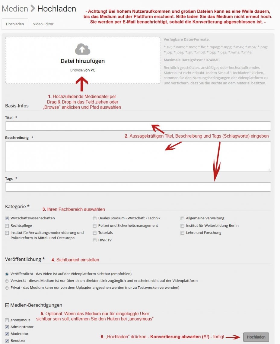 Kurzanleitung Upload Medienplattform